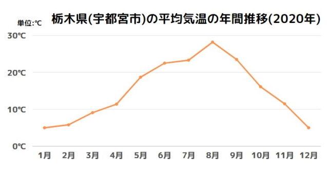 栃木県(宇都宮市)の平均気温の年間推移(2020年)