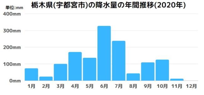 栃木県(宇都宮市)の降水量の年間推移(2020年)